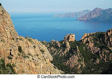 E Calanque di Piana, granite rocks, UNESCO heritage, Corsica