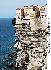 Bonifacio town on cliff, Corsica - Bonifacio old town on sea...