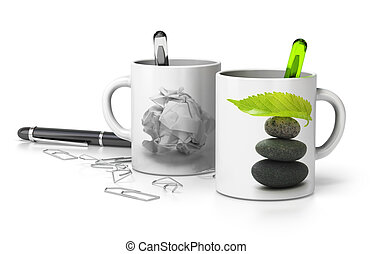 two mugs one withe a paper bullet and the second one with a pebble pile and a green leaf at the top, conceptual image symbol of stressed and serene executive. white background
