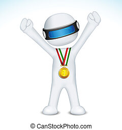 3d man with Gold Medal in vector