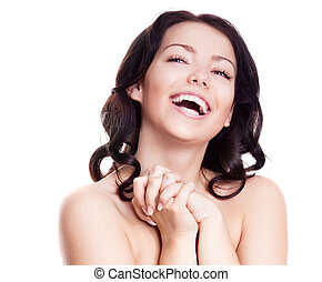 laughing woman - portrait of a happy laughing woman,...