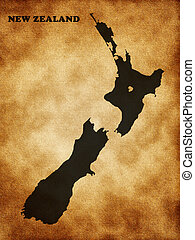 Map of New Zealand on the old texture
