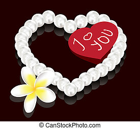 vector valentine's day gifts - pearl beads, flower and greeting card
