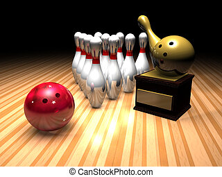 bowling winner - a bowling scene in a bowling alley with a...