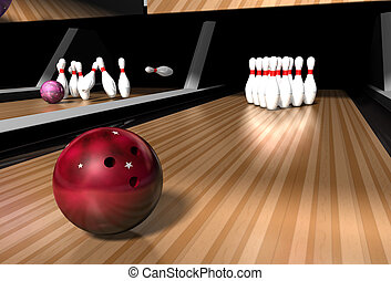 bowling alley - a red bowling ball rolling down a bowling...