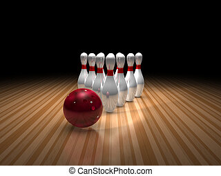 bowling ball and ten pins - a bowling ball and pins sitting...