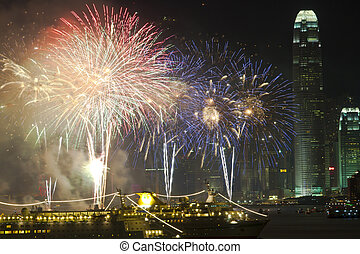 Hong Kong Chinese New Year fireworks along Victoria Harbour...