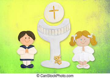 first communion card funny, boy brown blonde girl - cheerful...