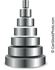 metallic cylinder pyramid - illustration of a sliced...
