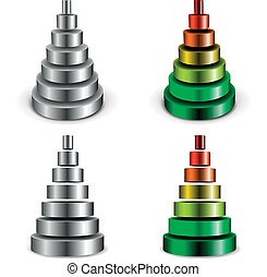 metallic cylinder pyramid - illustration of different sliced...