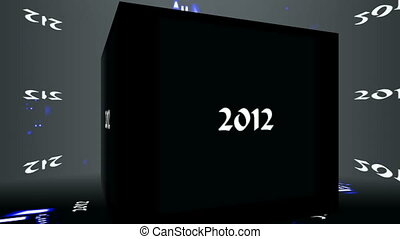 Cube 2012 - The cube rotates in a room Digits 2012 are shone...