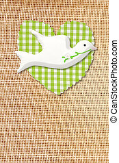 country first communion card, dove and heart burlap...