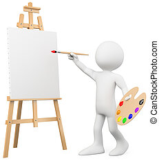3D artist painting on a canvas on an easel. Rendered at high...