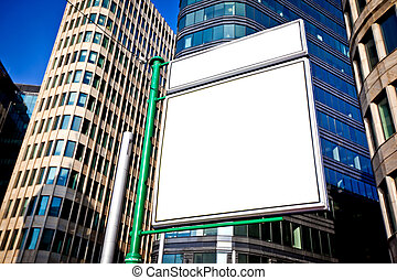 Big blank advertising construction on a urban new buildings