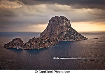 Es Vedra at sunset in Ibiza - The beautiful little island of...