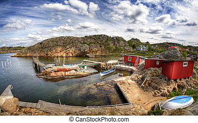 Typical small swedish fishing village - Typical small...