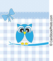 Owl card - Baby boy arrival announcement card. Owl