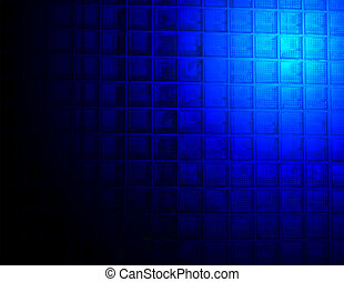 abstract blue lighting over glass wall
