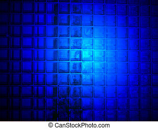 abstract blue light on the glass wall, science details -...