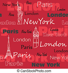 Red seamless pattern with cities - Seamless pattern with...