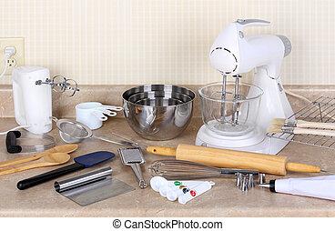 assando, ferramentas, Eletrodomésticos