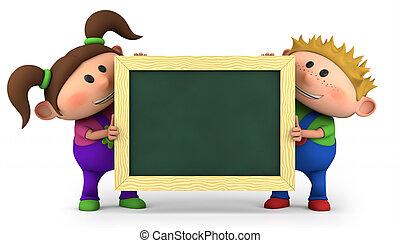 kids with chalkboard - cute kids holding a blank chalkboard...