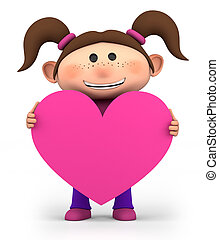 girl with heart - cute little girl holding a pink heart -...