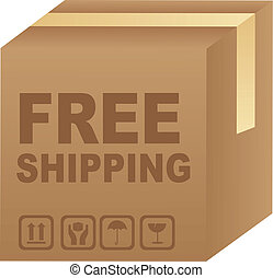 free shipping text over cardboard box isolated. vector...