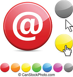 Arroba glossy button - Arroba glossy vibrant round icon