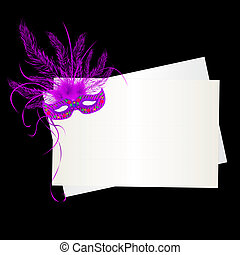 Mardi Gras purple mask and card over black background