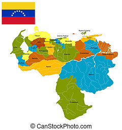 Districts of Venezuela - Detailed map of Venezuela divided...
