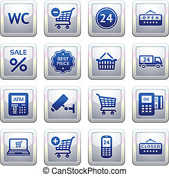 Set pictograms supermarket services, Shopping symbols. Blue....