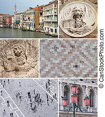 collage with landmarks of Venice, Italy, Europe