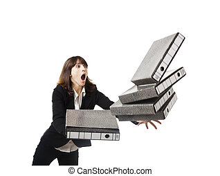 Falling folders - Woman in the office stumbling with a pile...