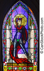 Staind Glass Window of She-Devil - A bright colorful stained...