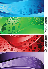 Vector set of banners with square