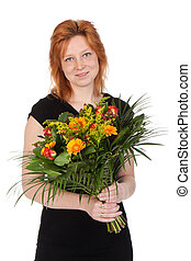 Young attractive woman with a bouquet of flowers - isolated on white