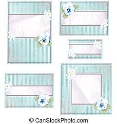 Antique blue wedding banner - Elegant vintage pink and blue...