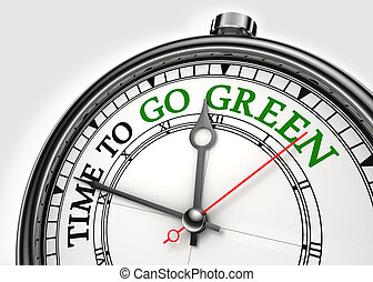 time to go green concept clock closeup on white background...