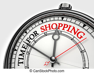time for shopping concept clock