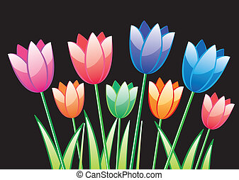 vector bunch of colorful tulips