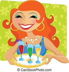 woman with drinks - attractive woman serving colorful party...