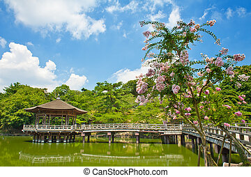 Gazebo in Nara - Beautiful wooden gazebo over the lake in...