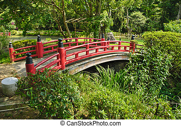 Beautiful Japanese garden with a lake and a red bridge in...
