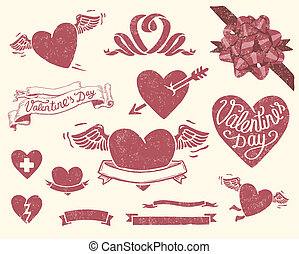 Valentineu2019s day set - Vector file has 3 layers:...