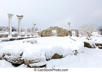 Ruins of Chersonesus in the snow, Sevastopol, Crimea,...