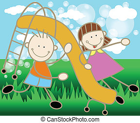 Children in the Park - Scalable vectorial image representing...