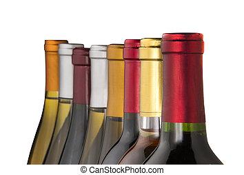Wine bottle necks, isolated