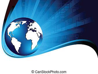 Vector blue tech background; clip-art