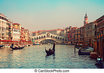 Rialto Bridge and gondolas in Venice